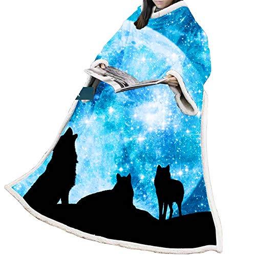 JJHH Premium Sherpa Fleecedecke mit Ärmeln für Erwachsene Frauen Männer Kuschelig Warm Superweich Plüsch Blau Tragbar Überwurf für Couchsofa Leichte Mikrofaser,A