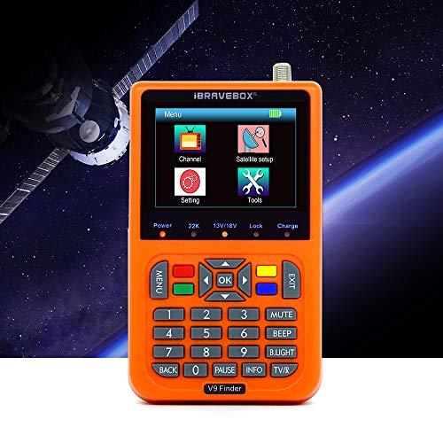 KKmoon Buscador de satélite digital V9 Buscador de satélite LCD Buscador de señal de satélite digital Medidor de satélite con Pantalla LCD de 3.5 pulgadas Televisión satelital naranja