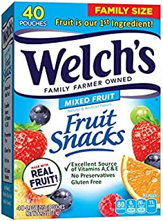 Welch's Fruit Snacks, Mixed Fruit, Gluten Free, Bulk Pack, 0.9 oz Individual Single Serve Bags (Pack of 40)-SET OF 4
