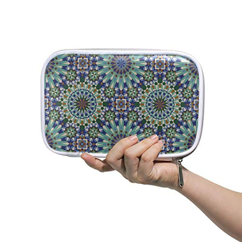 Mens Beauty Bag Seamless Moroccan Style Mosaic Tile Makeup Bag For Kids Makeup Bag For Kids Multifunctional Cute Stationary Box For Men Women