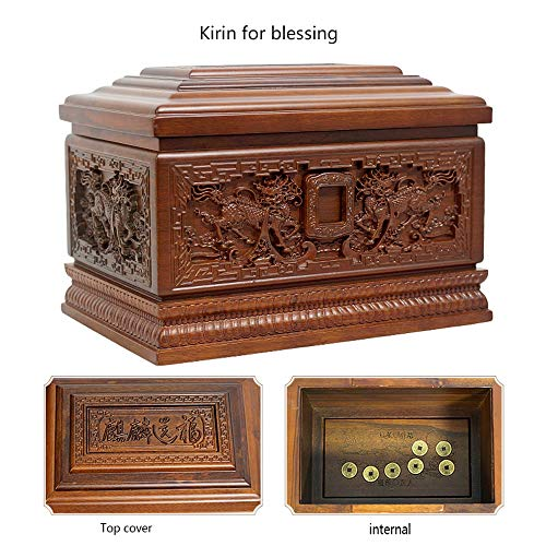 DJALSKJ Cinerary Casket Solid Wood Ebony Anti Corrosion FIG Carved Sandalwood Grade Pure Wood Coffin Memorial Cremation Urns Kirin for Blessing