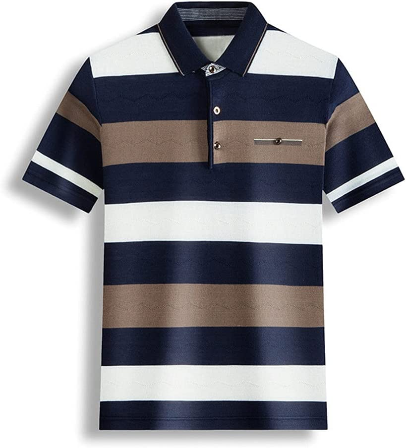 XJJZS Men Striped Polo Shirt Pure Max 87% OFF Thin Summer Tops Discount mail order Casual Cotton