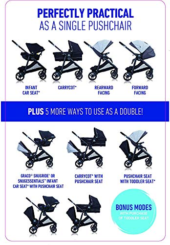 Graco Time2Grow i-Size Travel System (Pushchair & Car Seat, Birth to 3 Years Approx, 0-15kg) with Raincover, Denim Graco Suitable from birth to approx. 3 years (0-15kg) Travel System package with SnugEssentials i-Size infant car seat included Carrycot compatible as a stand-alone or using the main/toddler seat in the rear (suitable from birth up to 9kg) 3