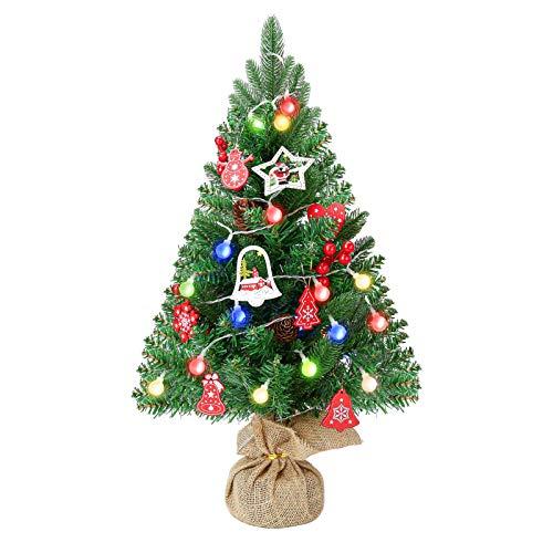 Stampaggio a iniezione albero di Natale mini ago di pino albero di Natale verde artificiale 60 cm con decorazione albero di Natale
