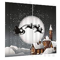 Amuzocity クリスマス装飾のための2xクリスマステーマのウィンドウドアカーテンブラインド - 8#