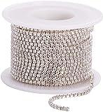 ULTNICE Cinta trenzada de piedra brillante para joyería, para coser, artesanía de boda, decoración, 10 m (2 mm)