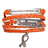 Orange Ribbon Bracelet, Where There is a Will There is a Way Leukemia Awareness, MS Awareness, Self Injury, Kidney Cancer, ADHD, Malnutrition Awareness, Awareness Jewelry