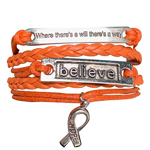 Orange Ribbon Bracelet, Where There is a Will There is a Way Leukemia...