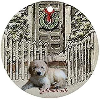Yilooom New Year Christmas Tree Decoration Goldendoodle Christmas Ornament Round Holiday Christmas Ornament