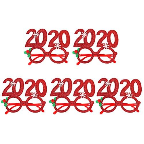Stobok 2020 - Gafas de sol con purpurina, color rojo, marco de Navidad, decoracin de Navidad, para disfraz de vspera