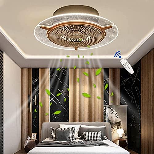 JKYP Lámpara de techo de ventilador de lujo con iluminación y control remoto silencioso, redondo, regulable, lámpara de techo, diseño ultrafino, para sala de estar, comedor, lámpara de araña