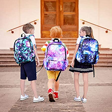Kids Backpacks for Elementary School 3 in 1 Backpacks Galaxy Backpack for Girls Boys Bookbags with Shoulder Bag Pencil Case