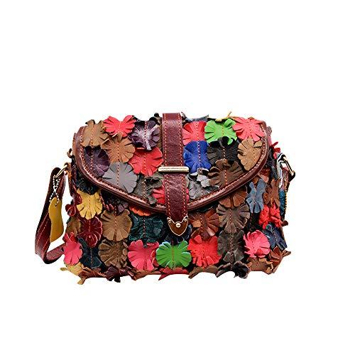 Segater Mehrfarbig Floral Rind Leder-Umhängetasche für Damen, Vintage Rindsleder Handtasche Blumenmuster 3D Schultertaschen Damen Reisetasche mit Henkeltasche Patchwork bunte Geldbörsen Henkeltaschen