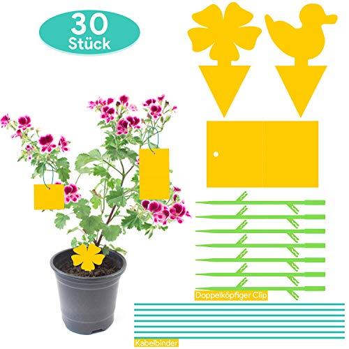 30 Stück Gelbsticker Gelbtafeln Trauermücken, Beidseitig Gelbfalle Fliegenfalle Garten, Gelbtafel Insekten für Zimmerpflanzen Topfpflanzen, Inklusive 7 Kabelbinder + 7 Grüner Doppelköpfiger Clip