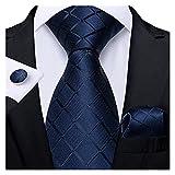 YSJJOSX Corbata para Hombre Classic Blue Blue Tie Men's Tie Rayado Paisley Floral Necktie Pocket Plaza Plaza Gemelos Empresarnos Set Cravat Regalo para Hombres (Color : SJT 1656)