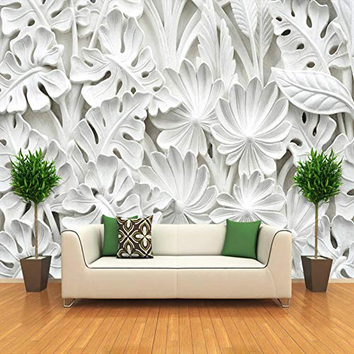 Cyalla 3D Stereoscopische Blad Patroon Pleister Relief Mural Wall Paper Woonkamer Tv Achtergrond Muurschildering Wallpaper Home Decoratie 350x250cm