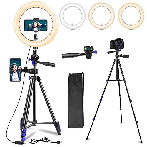 Ringlicht mit Stativ, 10.2 Zoll LED Selfie Ringleuchte mit 2 Telefonhalter, mit 3 Farbe und 10 Helligkeitsstufen Füllen Sie das Licht für Self-Porträt, Make-up,Videokonferenz, YouTube, Tiktok