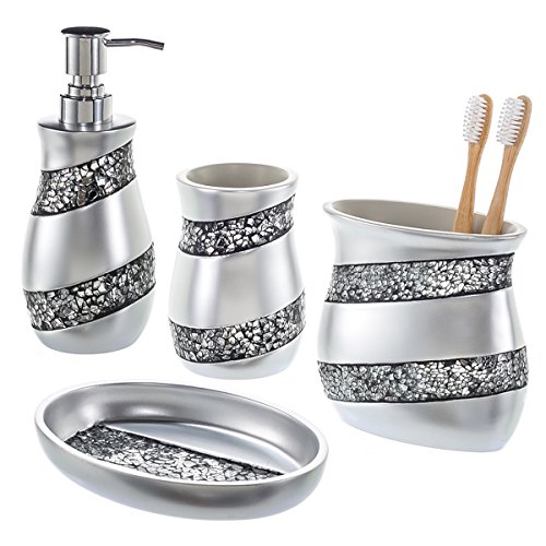 Creative Scents Bathroom Accessories Set, 4-Piece Silver Mosaic Glass Luxury Bathroom Gift Set, Includes Soap Dispenser, Toothbrush Holder, Tumbler & Soap Dish – Finished in Stunning Silver