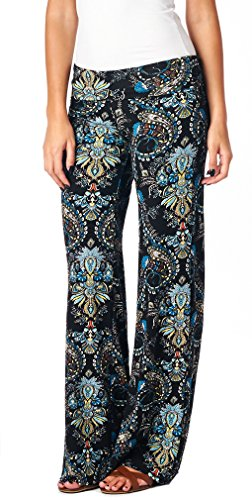 Popana Womens Casual Print Palazzo Pants Plus Size Made in USA Large ST01 Boho Paisley