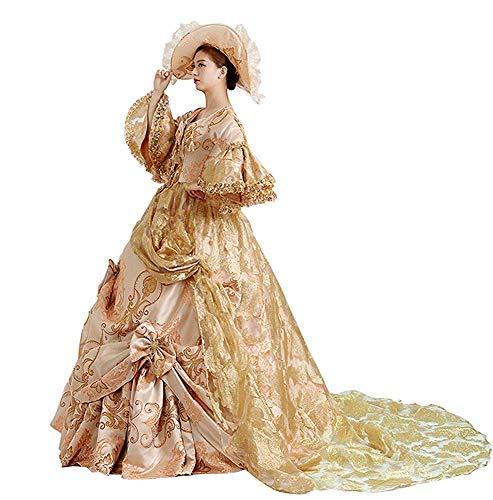 High-End Court Rokoko Barock Marie Antoinette Ballkleider 18. Jahrhundert Renaissance Historische Periode Kleid Gewand für Damen - Gelb - Groß