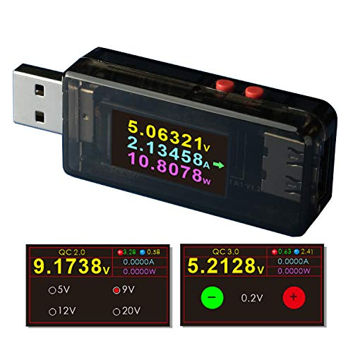 USB Power Meter Tester Digital Multimeter Current Tester Voltage Detector DC 24.0000V 5.0000A Test Speed of Charger Cables QC 2.0/3.0FCP/SCPAFCCVOOC DASH Trigg (A1)