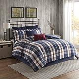 Woolrich Ryland Oversized Plaid Print Comforter Set Blue King/Cal King