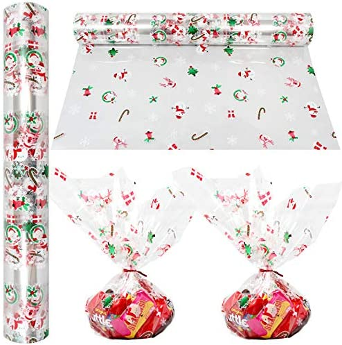 Christmas Cellophane Wrap Roll 100 Ft Long X 16 in Wide 2 3 Mil Thick Crystal Clear with Christmas product image