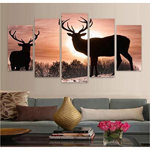 Pmhhc Artwork wandfoto, motief: Hd, motief: hert, 5 dieren, muurfoto's, afbeeldingen om zelf te maken, op canvas (geen fotolijst) 40x60cmx2 40x80cmx2 40x100cm