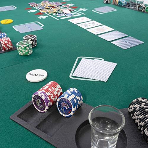 Faltbare Tischauflage Casino Pokertisch Pokerauflage Holzverstärkt klappbar 180 x 90 cm Chiptray Getränkehalter Black Jack Texas Holdem - 4