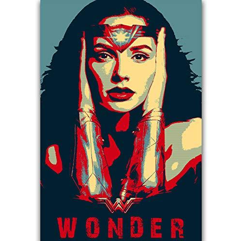 NOVELOVE Cuadro de Arte de Pared League Wonder Woman GAL Gadot Carteles Imprimir Lienzo Pintura Sin Marco 50 * 70cm
