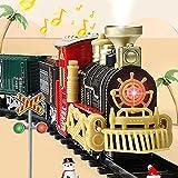 ACOOLOO Juego de Tren eléctrico para árbol de Navidad, Juego de Tren de Juguete con Sonidos realistas de Locomotora de Vapor, Juguetes de Tren Faros Delanteros con decoración de Escena
