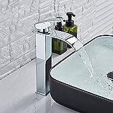 Grifo del lavabo de la cascada Grifo del lavabo del baño caliente y frío Grifo de una sola manija Hermoso grifo del fregadero curvo