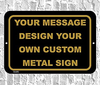 BA IMAGE Personalized Custom Black Antique 015 Aluminum Metal Sign with Your Name! (12x18 Black w/Antique, Horizontal)