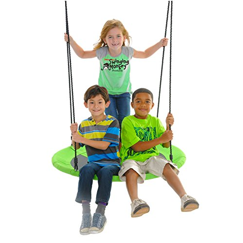 "Swinging Monkey Products Giant 40"" Saucer Tree Swing, 900D Oxford Fabric, Steel Frame, Simple Installation, Nest Swing (Green)"