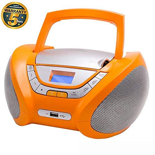 LAUSON CP447 CD-Speler met USB | Boombox Stereosysteem CD-Radio Draagbaare | Kinderradio met CD en MP3-Speler USB Port | Radio CD-Speler met Hoofdtelefoonaansluiting en Geïntegreerde Speakers (Orange)