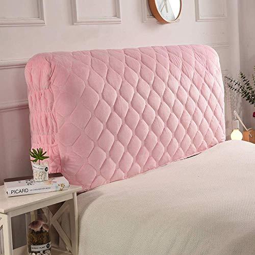 Stoff Stepp All-inclusive Kopfteilbezug Massivholzbett Kopfstütze Bedside Decoration Protector Staubschutz Waschbar,Pink