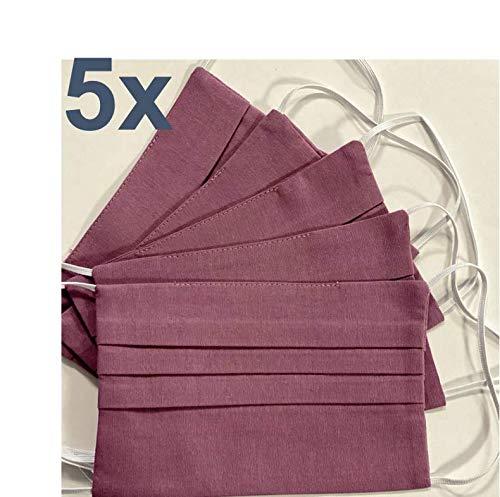 5x Behelfsmaske waschbar mauve | Mund Nasen Maske | OEKO-TEX Standard 100 Zertifikat