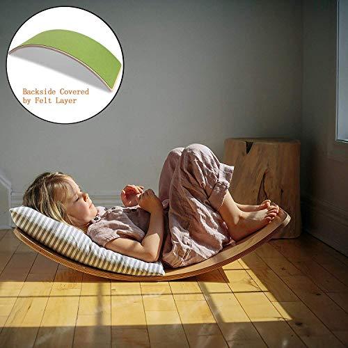 Khosd Balance Board Curva, Tabla De Madera Equilibrio, Consejo Yoga Kid, Tobogán para Niños, Wobble Y Tabla Rocker, Balance Trainer (Multicolor)