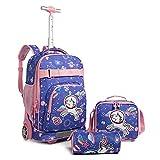 Wenlia Mochila con rueda, estuche para lápice, Bolsa de almuerzo 3 en 1 Conjunto de mochila escolar, Trolley Mochila de Unicornio, bolso escolar de dinosaurio para niños y niñas, Regalo la escuela