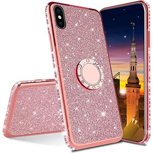 MRSTER Funda para iPhone X, Glitter Bling TPU Bumper Brillante Diamante Protector Case con Soporte Ring Kickstand de 360 Grados Carcasa para Apple iPhone X/iPhone XS. Rose Gold