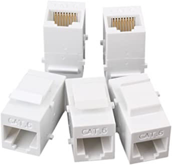 RDEXP Black RJ45 Coupler Inline CAT5E Ethernet Cable Connector Female to Female Network Modular Extender Adapter Set of 20