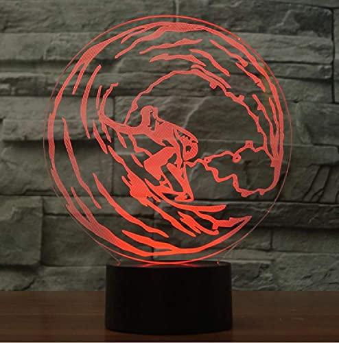 Lámpara De Mesa De Noche Colorida Para Dormitorio Con 7 Luces De Noche 3D De Surf Para Decoración Del Hogar, Regalo Para Niños Y Niños