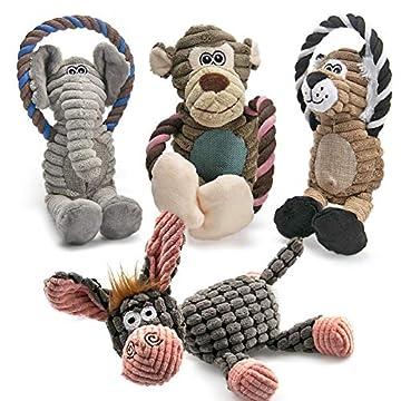 4 UNTERSCHIEDLICHE TIERE- Das Quietsch-Hundespielzeug-Set bietet vier liebenswerte Begleiter für Ihren niedlichen Hund, darunter ein Affe, ein Elefant, ein Löwe und ein Esel. Mit ihnen müssen Sie sich keine Sorgen mehr machen, dass der einsame Hund z...