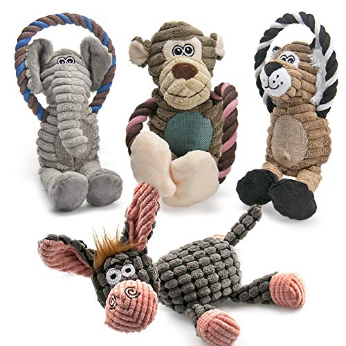 AWOOF Spielzeug für Hunde, Interaktives Plüsch Hundespielzeug, stabiles Quietschende Hundespielzeuge mit Baumwollstoff, Kauknochenspielzeug für Welpen, kleine, mittelgroße und große Rassen(4 Pack)