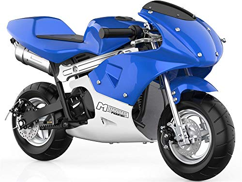 TOXOZERS Mini Gas Pocket Bike 49cc 2-Stroke Kids Motorcycle Support Up to 170 lbs (Blue)