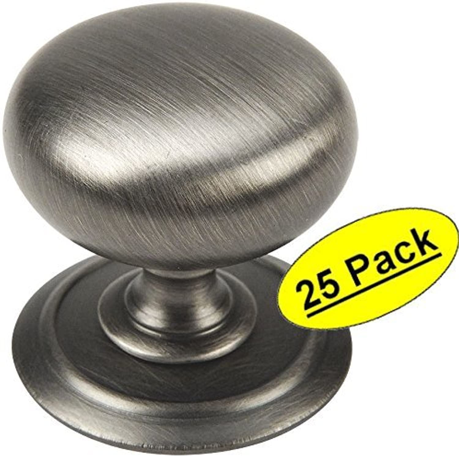 Cosmas 6542AS Antique Silver Round Cabinet Hardware Knob w  Backplate - 1-1 4  Diameter - 25 Pack