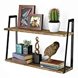 Floating Wall Shelves, 2-Tier Rustic Wood Shelves for Bedoom, Bathroom, Living Room, Kitchen(Carbonized Black)