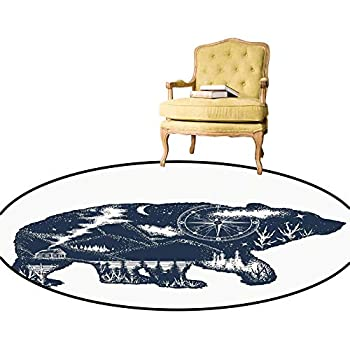 Area Rugs Bear Double Exposure Tattoo Art Image Great Outdoors Mountains Compass Simple Modern Carpet/Round Rug It Made The Whole House Decor Perfect Dark Blue White Diameter - 3 Feet