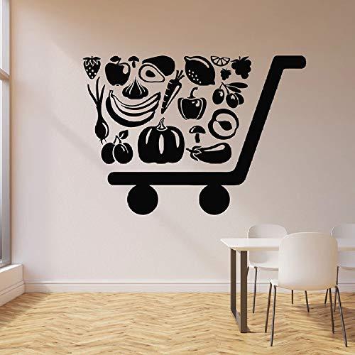 yuandp Wandtattoo Bio-eco-levensmiddelen gezonde fruitwinkel supermarkt interieurdecoratie vinyl raam sticker creatieve kunst wandafbeelding 42x58 cm AB
