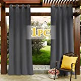 PONY DANCE Grey Outdoor Curtain - Eyelet Top Gazebo Blackout Curtain for Privacy Protected & Noise Reducing Water Proof Fade Resistant Window Drape for Dock, 1 Panel, W 52' x D 108', Grey